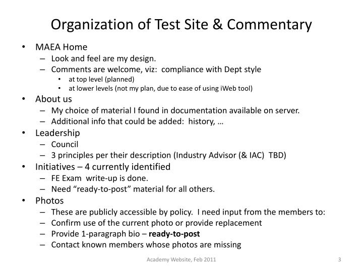 Organization of test site commentary