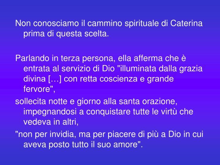 Non conosciamo il cammino spirituale di Caterina prima di questa scelta.