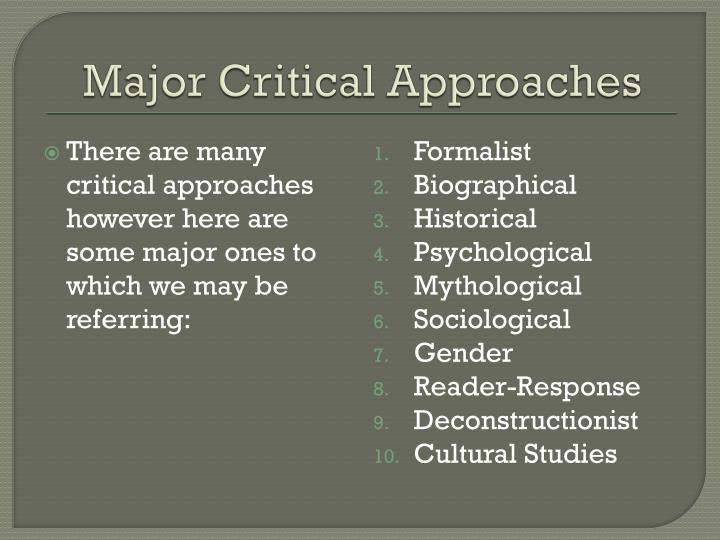 Major Critical Approaches