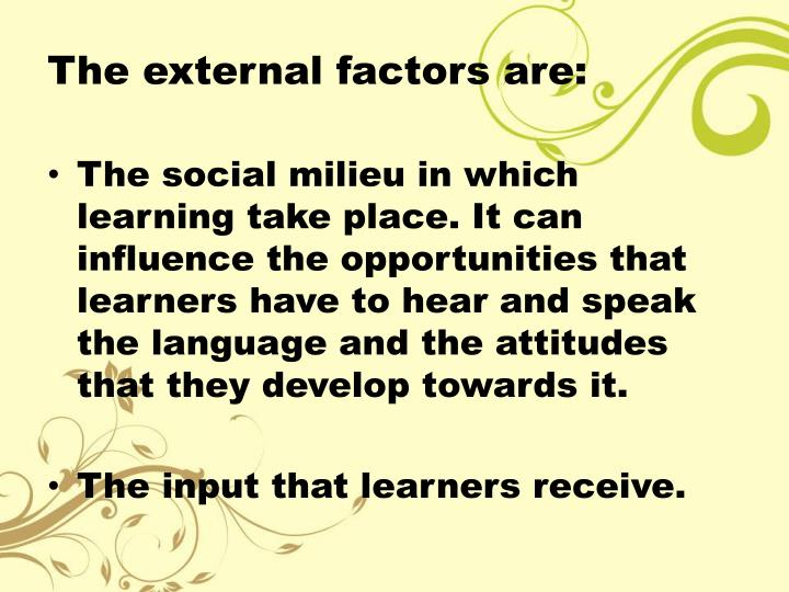 The external factors are: