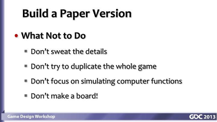 Build a Paper Version