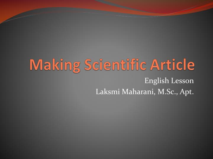 Making scientific article