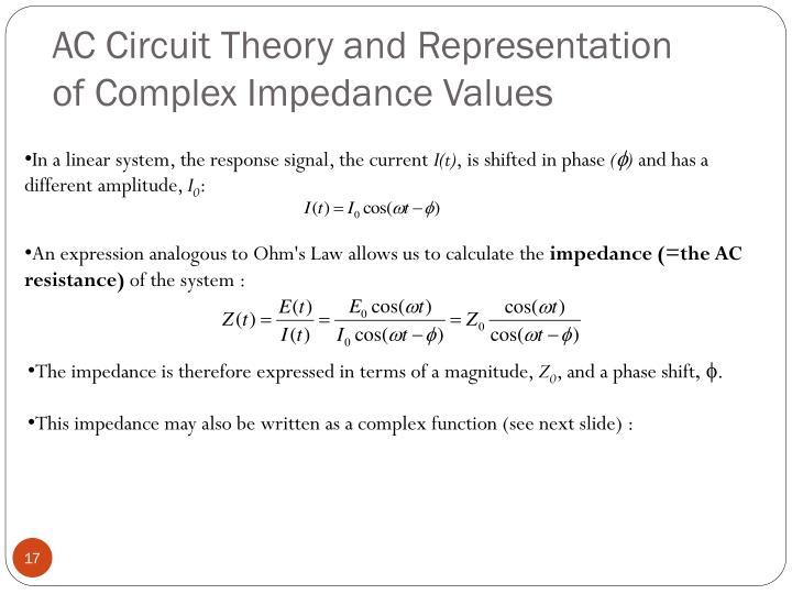 AC Circuit Theory and Representation of Complex Impedance Values