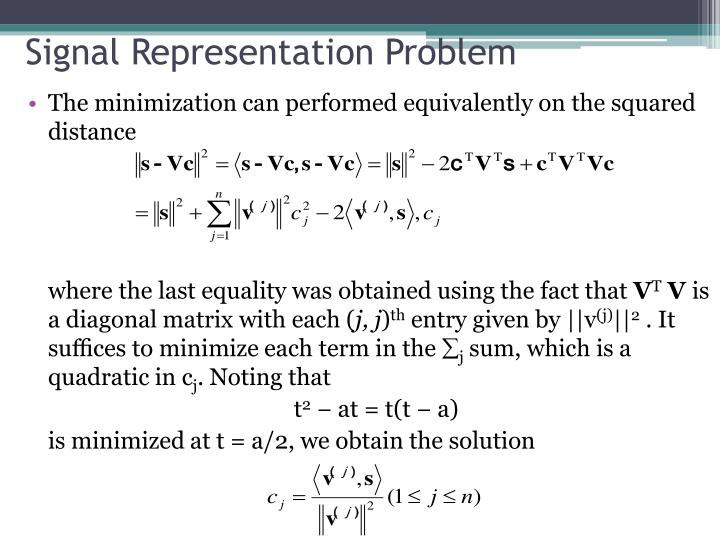 Signal Representation Problem