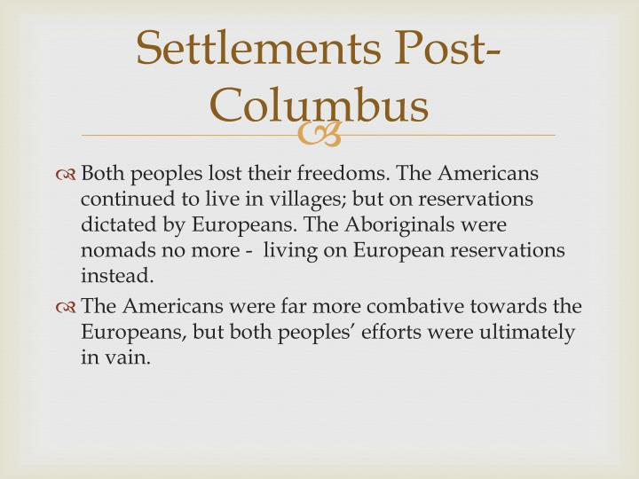 Settlements Post-Columbus