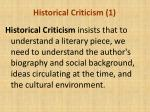 historical criticism 1