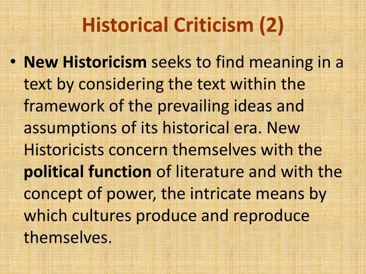 Historical Criticism (2)