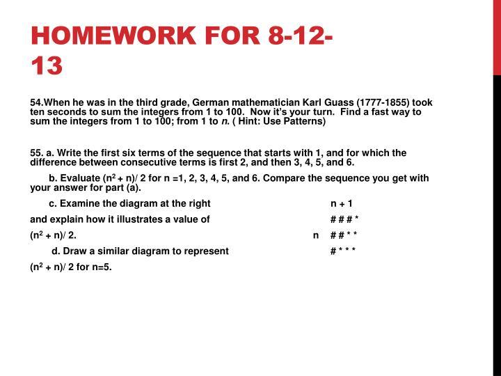 Homework for 8-12-13