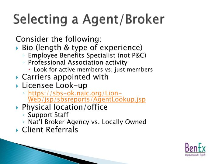 Selecting a Agent/Broker