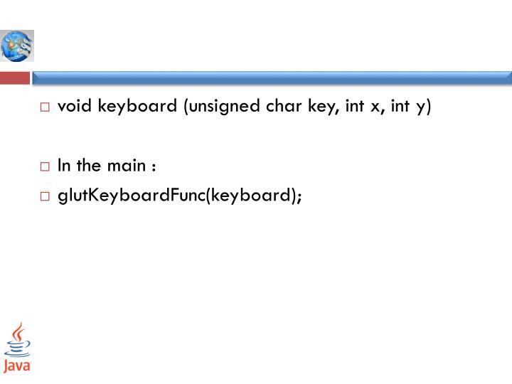 void keyboard (unsigned char key,