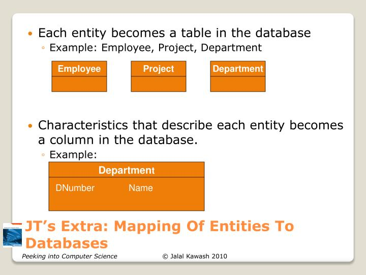 JT's Extra: Mapping Of Entities To Databases