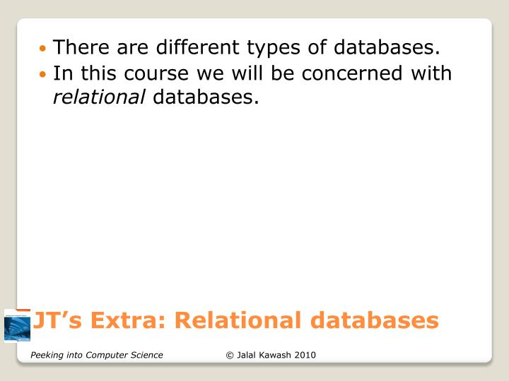 JT's Extra: Relational databases