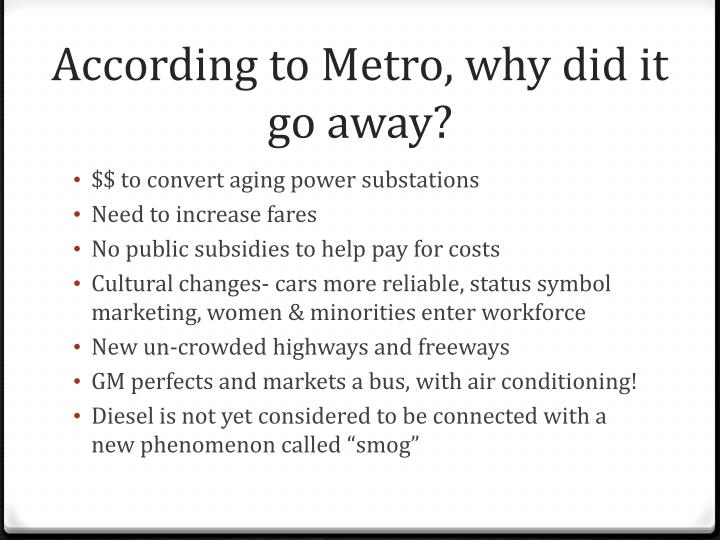 According to Metro, why did it go away?