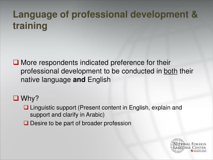 Language of professional development & training