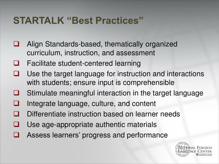 """STARTALK """"Best Practices"""""""