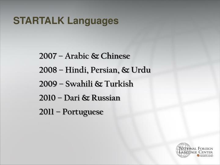 STARTALK Languages