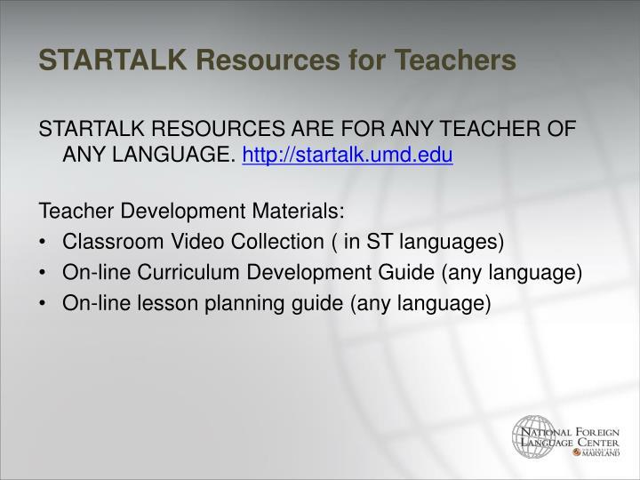 STARTALK Resources for Teachers