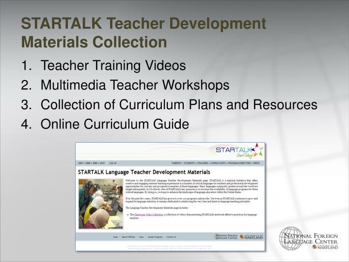 STARTALK Teacher Development Materials Collection