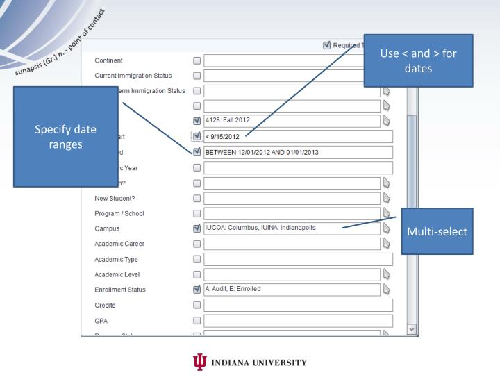 Use < and > for dates
