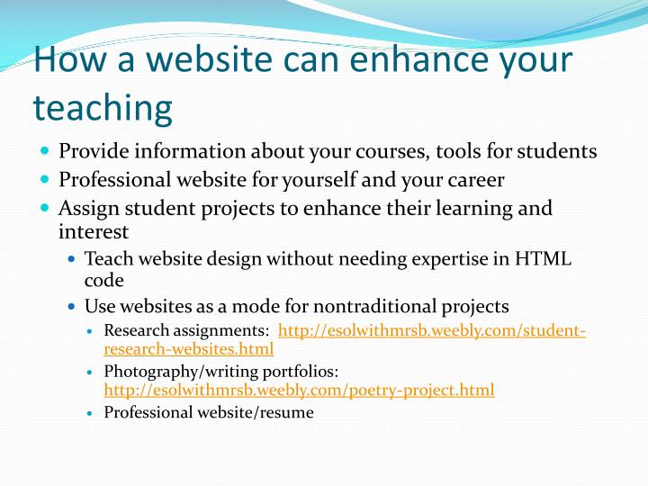 How a website can enhance your teaching