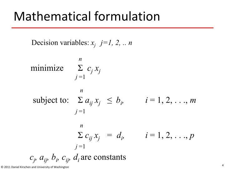 Mathematical formulation