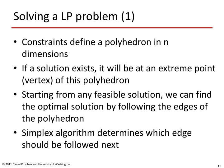 Solving a LP problem (1)