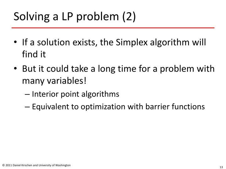 Solving a LP problem (2)