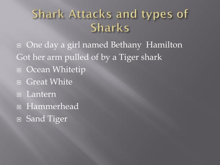 Shark attacks and types of sharks
