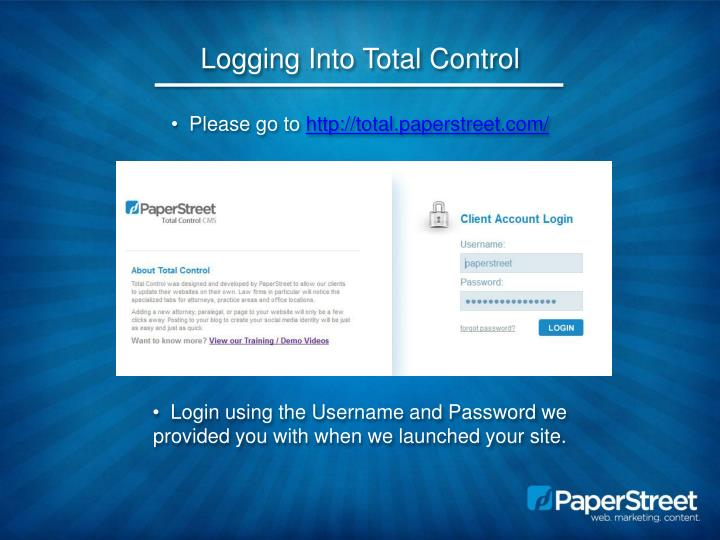 Logging into total control