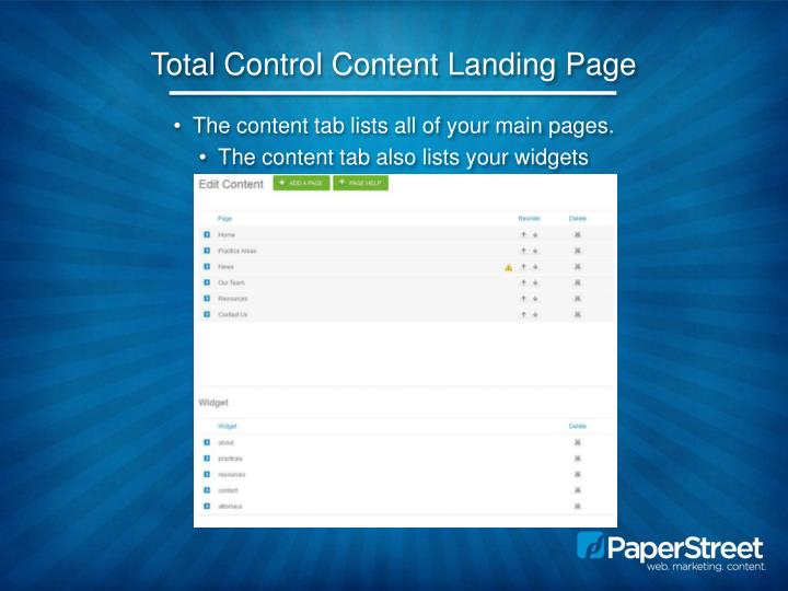 Total Control Content Landing Page