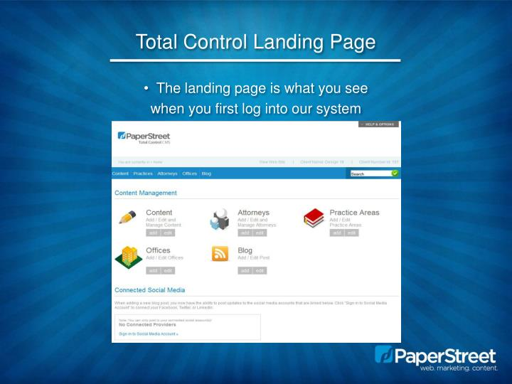 Total Control Landing Page