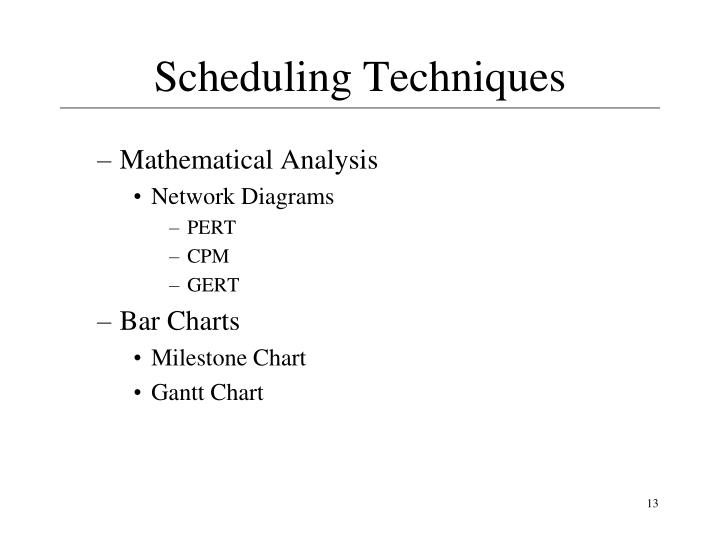 Scheduling Techniques