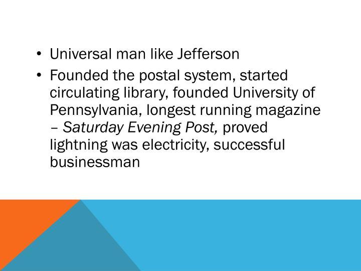 Universal man like Jefferson