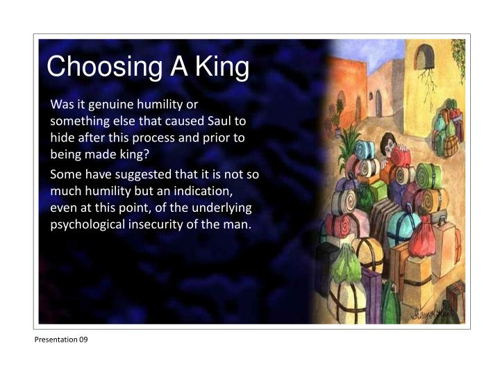 Was it genuine humility or something else that caused Saul to hide after this process and prior to being made king?
