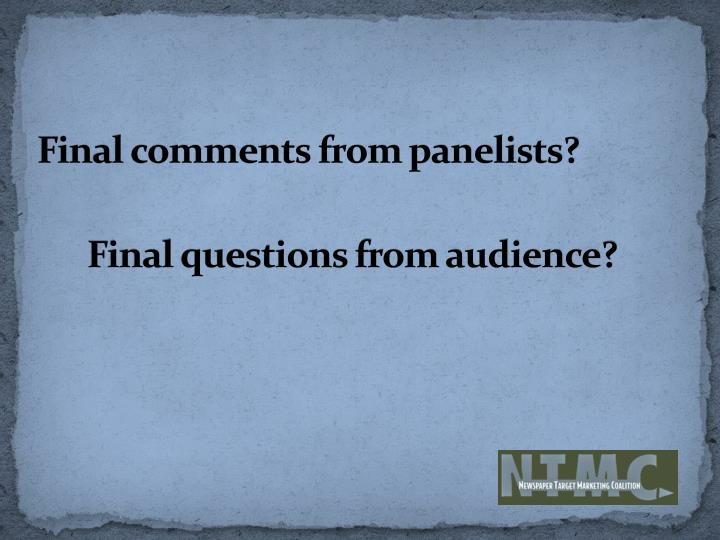 Final comments from panelists?