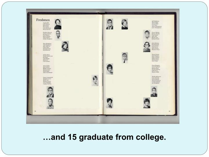 …and 15 graduate from college.