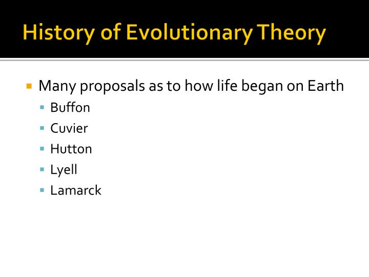 History of Evolutionary Theory