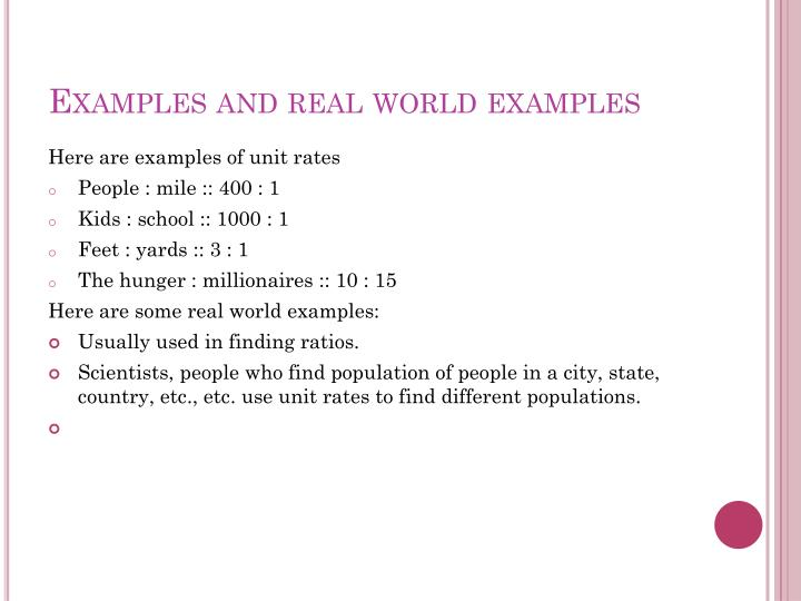 Examples and real world examples