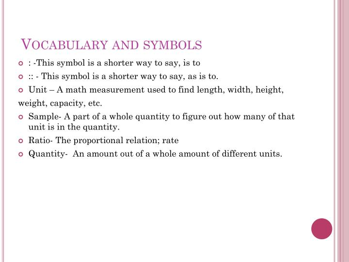 Vocabulary and symbols