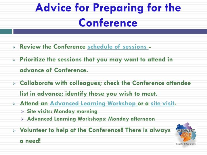 Advice for Preparing for the Conference