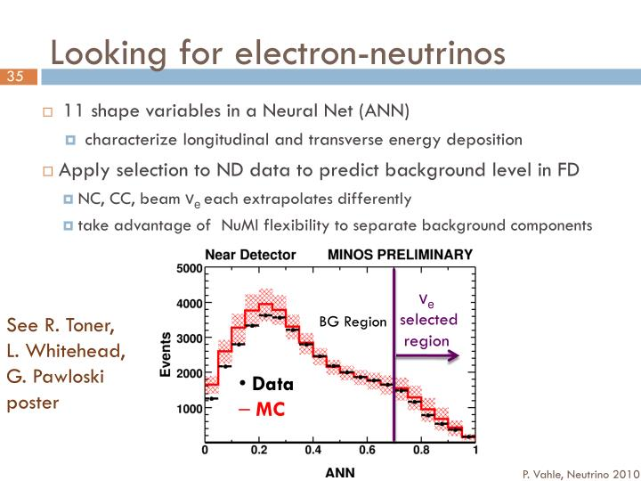 Looking for electron-neutrinos