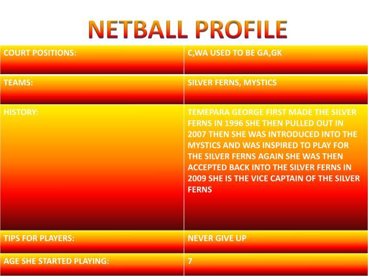NETBALL PROFILE