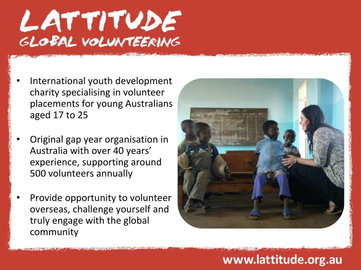 International youth development charity specialising in volunteer placements for young Australians a...
