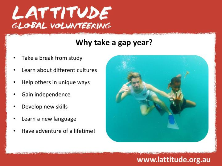Why take a gap year?