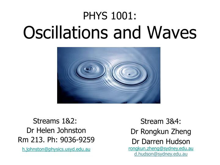 phys 1001 oscillations and waves