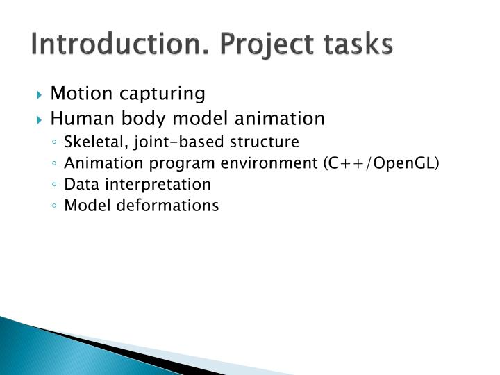 Introduction. Project tasks
