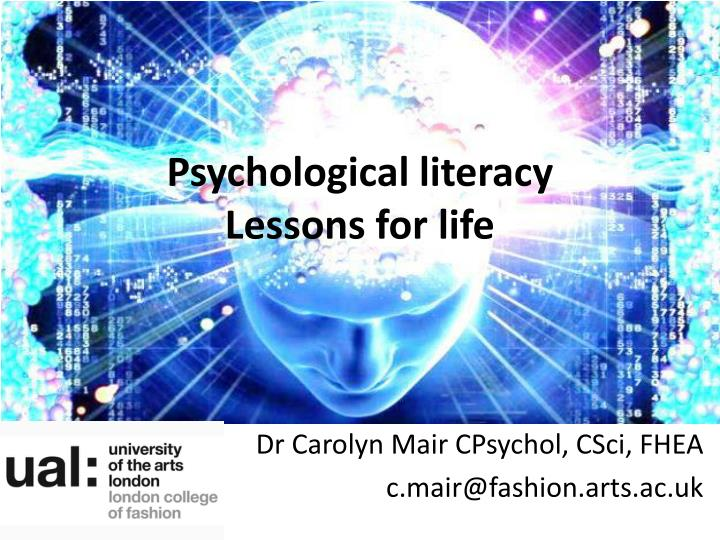 Psychological literacy lessons for life