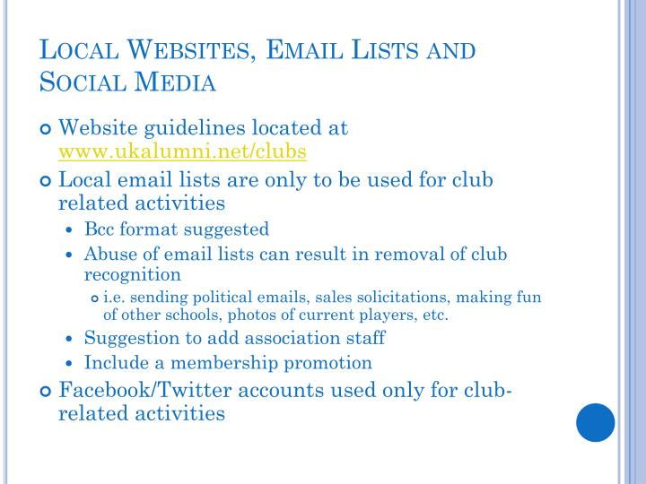 Local Websites, Email Lists and Social Media