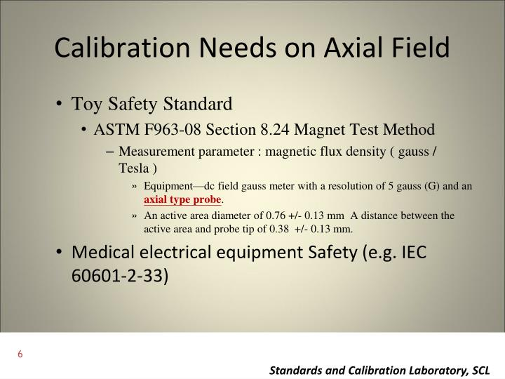Calibration Needs on Axial Field