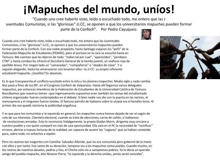 ¡Mapuches del mundo, uníos!